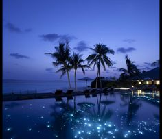 "Fiber optic light ""stars"" sparkle in the bottom of this heavenly, fairy-tale like infinity pool in the Maldives..."