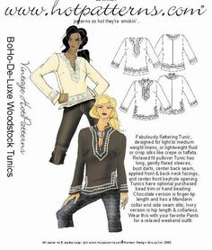BoHoDeLuxe Woodstock Tunic Sewing Pattern by by FrabjousCouture, $7.99
