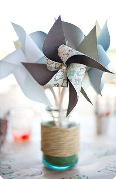 pinwheelss @Brianna Mendoza Stewart Brooks you said you wanted fun...picture this in your colors on the tables????