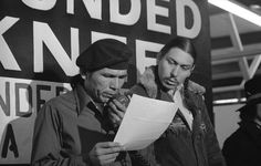 American Indian Movement (AIM) leaders at Wounded Knee, SD during the 71-day occupation, 1973.  Photo credit: Associated Press