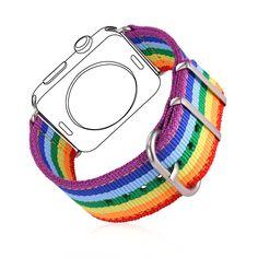 Tela de alta Calidad Correa de Reloj Para Applewatch Serie 1/2 38 MM/42 MM Hombres/Mujeres LGBT Rainbow colorido Venda De Reloj APB2295