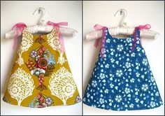 Make for Baby: 25 Free Dress Tutorials for Babies Toddlers. I want to make the reversible one shown here and the simple pillowcase dress.DIY baby girl dressy + lots of cute baby patternsThis reversible pattern doesn't show up, hoping to be able to wi Toddler Dress, Toddler Outfits, Kids Outfits, Sewing For Kids, Baby Sewing, Little Girl Dresses, Girls Dresses, Summer Dresses, Couture Bb