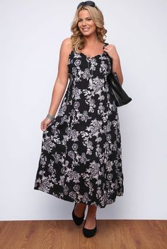 Yoursclothing Womens Plus Size Black And Grey Floral Print Maxi Sun Dress: Amazon.co.uk: Clothing