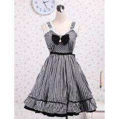 Low Bust Lace Hem Bow Tie Pleated Skirt Gingham Checks School Lolita Dress