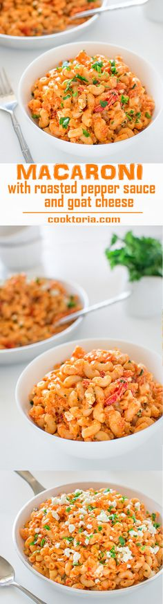 Macaroni with Roasted Pepper Sauce and Goat Cheese - COOKTORIA