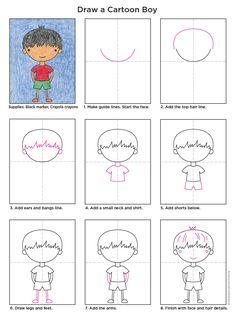 Cartoon Boy diagram - Portrait Webelos art badge