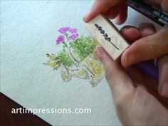 Art Impressions Rubber Stamps: Watercolor the Art Impressions way - the milk can