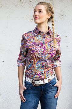 Ladies psychedelic Western Shirt | Long Sleeve Ladies Ladies Western Shirts, Ladies Shirts, Work Shirts, Western Wear, Psychedelic, Paisley, Long Sleeve Shirts, Men Casual, Blouse