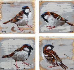 Huismussenserie / Sparrows series 2 - 1 t/m 4 - à 10 x 10 cm   vogel   oud hout   schilderij   dieren   bird   old wood   painting   animals  