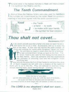 Covenant, 10th Commandment