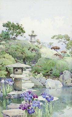 Ella Du Cane was a British artist best known for her watercolors of landscapes and exotic locales. Ella Mary Du Ca. Art Watercolor, Watercolor Landscape, Watercolor Illustration, Watercolor Flowers, Landscape Paintings, Landscapes, Japanese Watercolor, Iris Painting, Japan Painting