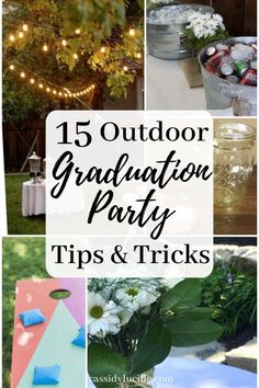 High school graduation party ideas perfect for outdoor graduation parties. Here's the best food, decor, and game ideas to match your grad party's theme. Party 15 Outdoor Graduation Party Ideas Every Grad Needs To Know Vintage Graduation Party, Outdoor Graduation Parties, Graduation Party Planning, Graduation Party Foods, College Graduation Parties, Graduation Party Decor, Grad Parties, Themes For Parties, High School Graduation Picture Ideas