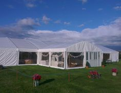External View of a wedding reception marquee for 200 guests in Mid wales