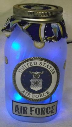 Army - Navy - Air Force - Marine - Reserves - Any branch of the military. Show them your support with a unique lighted mason jar!