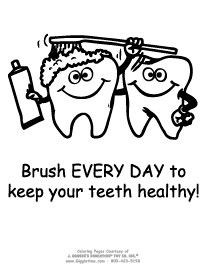 Toothbrush, Toothpaste and Dental floss color page | Dental Health ...