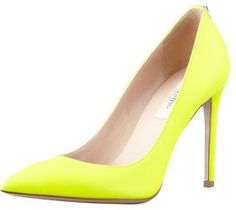 Valentino Rockstud Leather Simple Pump, Yellow on shopstyle.com