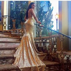 dd880cf96fd Sexy Backless Gold Sequin Prom Dress Fitted Formal Occasion Party Dress  Poofy Prom Dresses Prom 2015 Dresses From Bigear