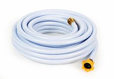 Drinking Water Hose by Camco. Made with NSF Certified hose, drinking water safe, reinforced for maximum kind resistance, long x ID. Hose is made of PVC and is BPA f… Water Garden, Garden Hose, Indoor Garden, Van Conversion Plumbing, Safe Drinking Water, Water Birth, Thing 1, Water Hose, Rv Campers