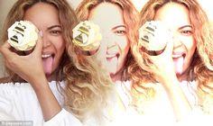 Queen Bey: Beyonce also shared a collage of images of herself joking around with a yellow-and-black bee decorated cupcake