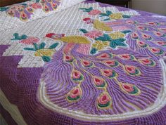 Vintage Double Peacock CHENILLE BEDSPREAD Thick and Super Plush in Ex Condition!