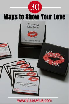 Show your love in 30 ways with 30 different kisses from Kisses 4 Us!  From a Finger Kiss to a Creamy Kiss and then a Dip Kiss...you will fall in love over and over again as you experience each Kiss.Kisses 4 Us includes 30 Kiss Cards, 5 Create Your Own Cards and an Idea Book for Making Kissing Fun all year long! Love Kiss, Kiss You, Dating Again, Dating After Divorce, Relationship Advice, Relationships, Rekindle Romance, Understanding Men, Why Do Men