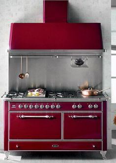antique kitchen cans | red vintage kitchen stove for modern kitchens designs in retro styles....LOVE