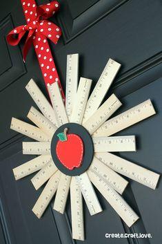 Back to School Ruler Wreath via createcraftlove.com #backtoschool #wreath #rulerwreath