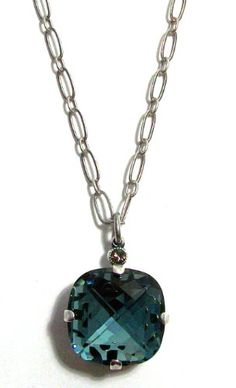 Catherine Popesco Sterling Silver Plated Pendant Necklace with Large Indian Sapphire Square Swarovski Crystal @Vicki Wall