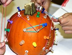 Hands-On Pumpkin Math - The Geo Pumpkin!: Great as an educational but entertaining game. Math=geo shapes with rubberbands, fine motor and gross motor skills practice and lots of fun hammering golf tees in. Could use large nails at home. Can do counting for the younger ones, too.
