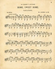 Home Sweet Home Antique Sheet Music Printable