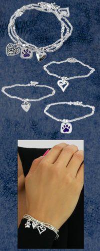 Purple Paw Charm Bracelets - Set of 3 ... cat charm bracelet, dog charms, cat and dog, bird & birdhouse