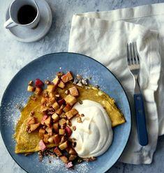 FROKOSTINSPIRASJON: EPLER - Bakekona Toffee, Pancakes, Breakfast, Food, Omelet, Sticky Toffee, Morning Coffee, Candy, Eten