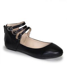 Another great find on #zulily! Black Reversal Ankle-Strap Flat #zulilyfinds