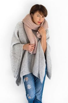 Alpaca knit poncho cape for women