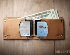 Thin Leather Wallet Mens Leather Wallet Minimal Wallet por MrLentz