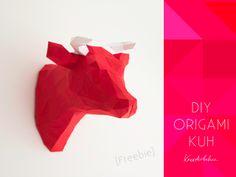 Origami Kuh Kopf Wanddeko Anleitung *_* I LIKE !!!