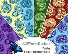 Paisley 8.5x11 Digital Backgrounds Set of 6 от H20worksDesigns