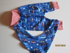 Baby Bloomers pants with reversible bib set cars Handmade