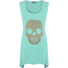 Evelina Skull Stud Hanky Hem Top ($28) ❤ liked on Polyvore featuring tops, green, blue sleeveless top, blue green tops, skull top, green sequin top and studded top
