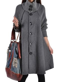 Button Closure Grey Long Sleeve Cloak Coat on sale only US$34.78 now, buy cheap Button Closure Grey Long Sleeve Cloak Coat at lulugal.com