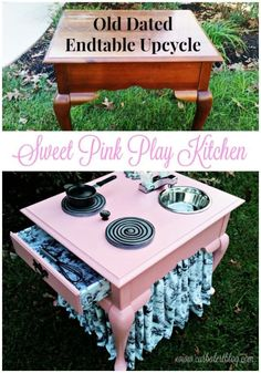 Take a look at the before and after of this pink play kitchen. Started out wiht an uplcycled end table and ended up with a GORGEOUS pink kitchen fit for a littel princess! kitchen decor diy Upcycle End Table Into A Pink Play Kitchen For Your Little Girl Repurposed Items, Repurposed Furniture, Kids Furniture, Painted Furniture, Diy Childrens Furniture, Furniture Dolly, Woodworking Furniture, Metal Furniture, White Furniture