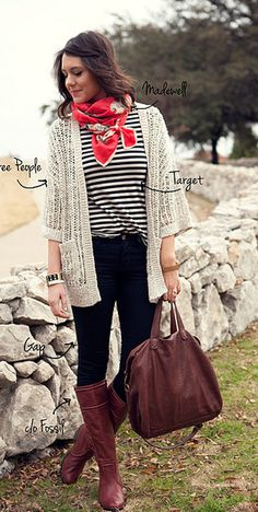 red scarf & knitted cardigan
