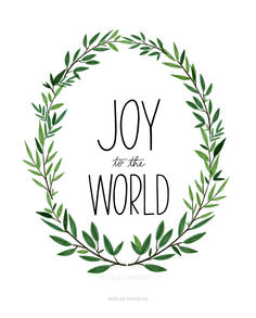 "Joy To The World Print  Size: 8""x10""  Handmade  Printed on Crane Paper"
