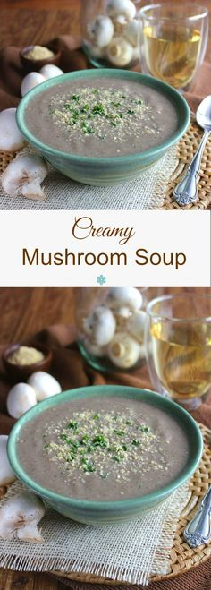 Creamy Mushroom Soup is a combo of little white button mushrooms, flavorful cremini mushrooms and coconut cream. Fast and smooth in texture. All you need is a blender.