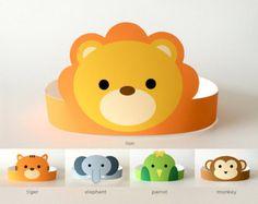 Jungle Safari Baby Shower Decorations, Birthday Party Paper Crown/Hat, Nursery Decor | Jungle Animals: Monkey, Elephant, Lion, Tiger, Parrot