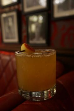 Ingredients: 2 oz Bourbon; 1 oz Ginger Syrup*; 1 oz Unfiltered Apple Juice; 1 oz Lemon Juice; A few cracks of Black Pepper; *Ginger Syrup: 2 oz. of ginger to 1 cup of sugar to 1 cup of water. Simmer for 15 minutes. Let cool. Strain. Store in the refrigerator for 2 weeks. Instructions: Combine all ingredients, shake, and strain into arocks glass.Garnish with an apple ball. Courtesy of Strip House