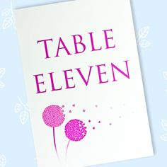 Wedding table names or numbers to display on wedding reception tables. These table name/number cards are printed using pigment ink which is splash proof. Wedding Table Names, Wedding Reception Tables, Wedding Day, Pressed Leaves, Wedding Stationery, Dandelion, Numbers, Prints, Cards