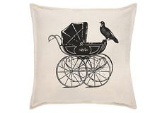 Victorian 18x18 Pillow, Black = A bit of Victorian panache with a playful side, features hand screen-printed art.