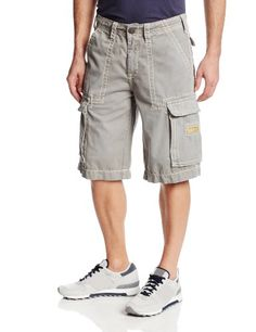 True Religion Men's Isaac Cargo Short with Natural Big T Stitching In Slate Grey. BUY it on Amazon: http://amazonpartner.us/?p=290