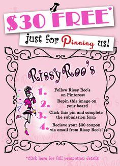 Special limited time Pinterest Promotion!  Visit www.rissyroos.com/pinterest-promotion for full details.